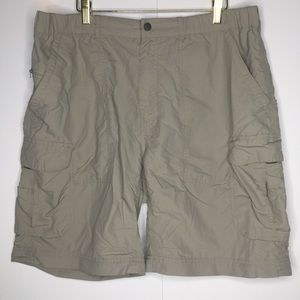 REI Cargo light Tan Shorts with multi pockets.